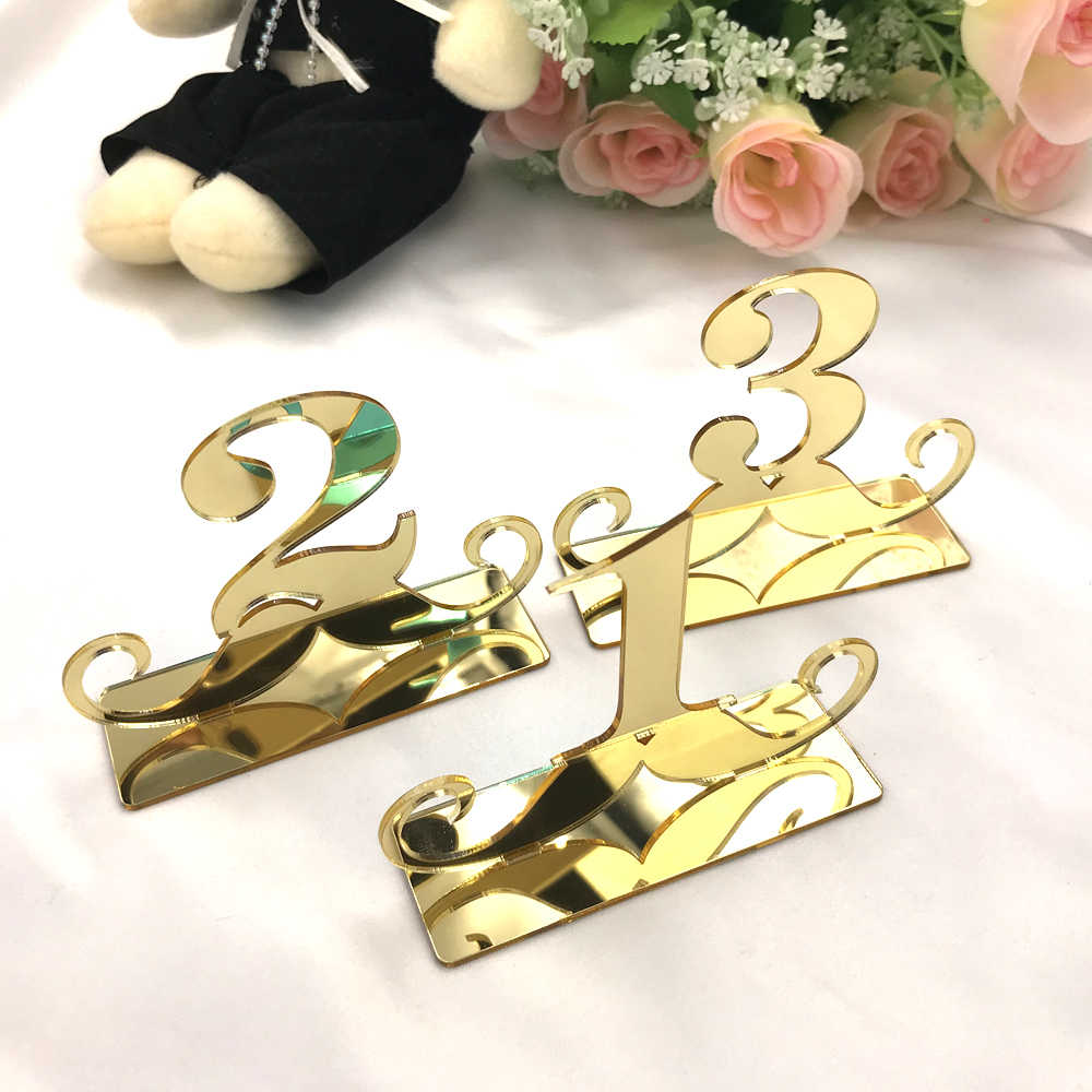 Table Number Signs for Wedding Party Decor Silver Gold