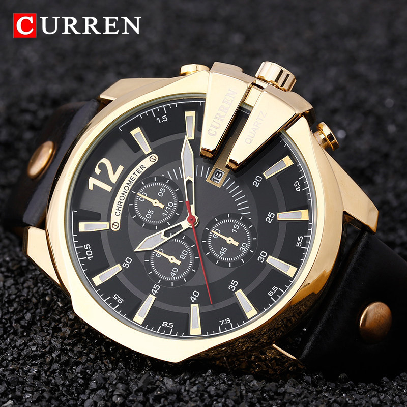 Luxury Brand CURREN Fashion Big Dial Men Watch Military Sport Quartz Watches Leather Strap Business Metal Wristwatch Men's Clock