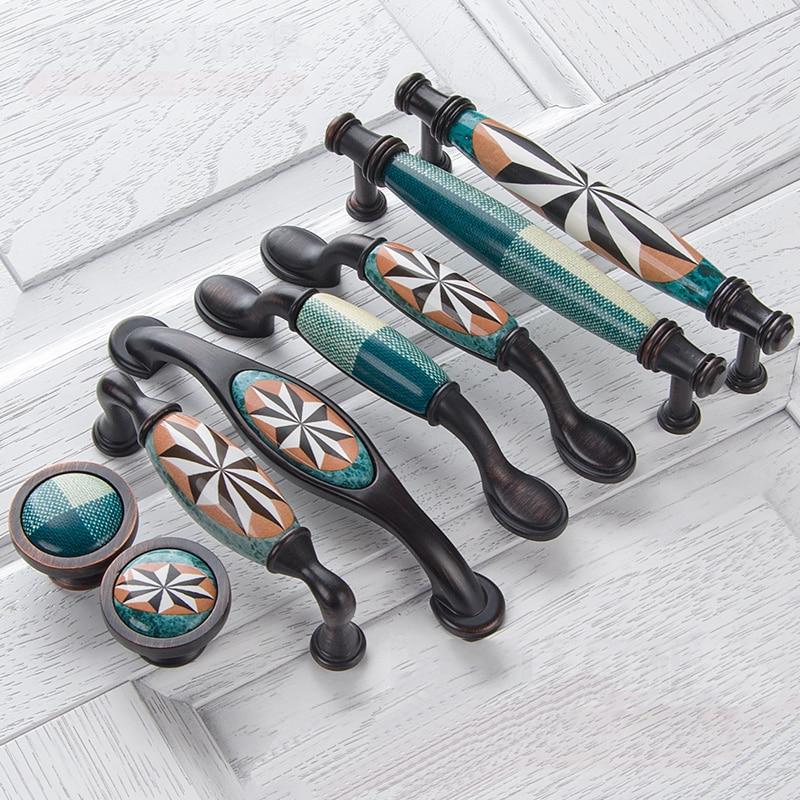 Керамические дверные ручки европейские ручки для антикварной мебели ручки и ручки для кухонного шкафа