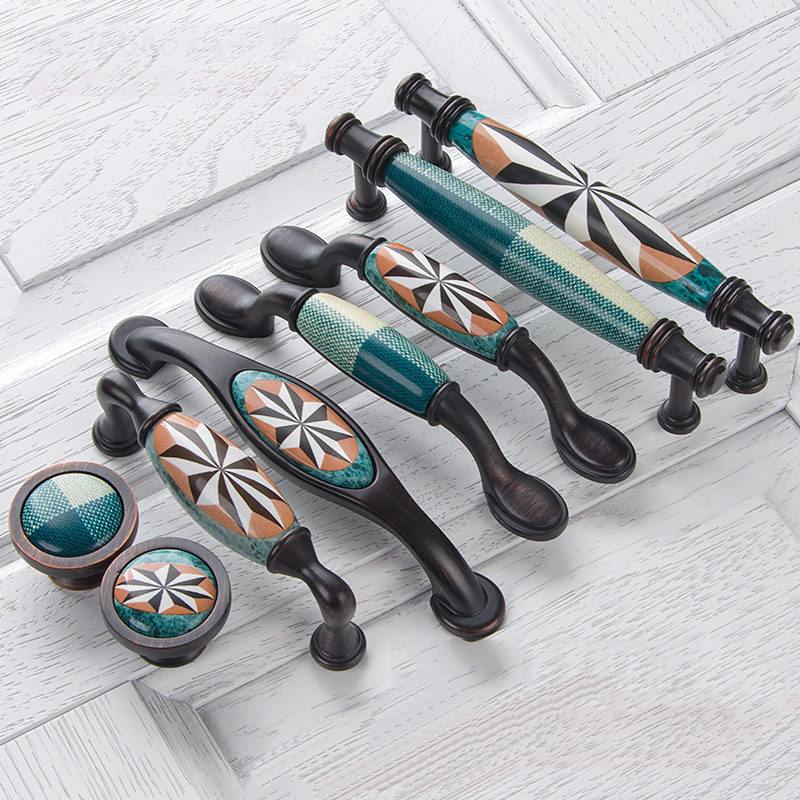 Keramik Türgriffe Europäische Antike Möbel Griffe Schublade Zieht Küche Kabinett Knöpfe und Griffe