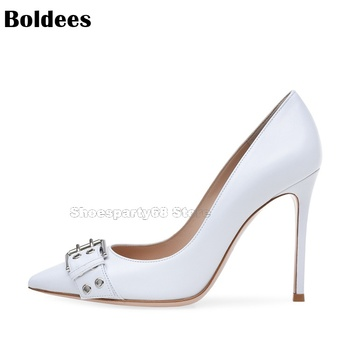 Fashion Show Concise Designer Pointed Toe Thin High Heel White Leather Dress Shoes Women Buckle Party OL Pumps