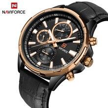 2017 Элитный бренд NAVIFORCE хронограф для мужчин спортивные часы водостойкие кожа Повседневное кварцевые наручные часы для мужчин Relogio Masculino