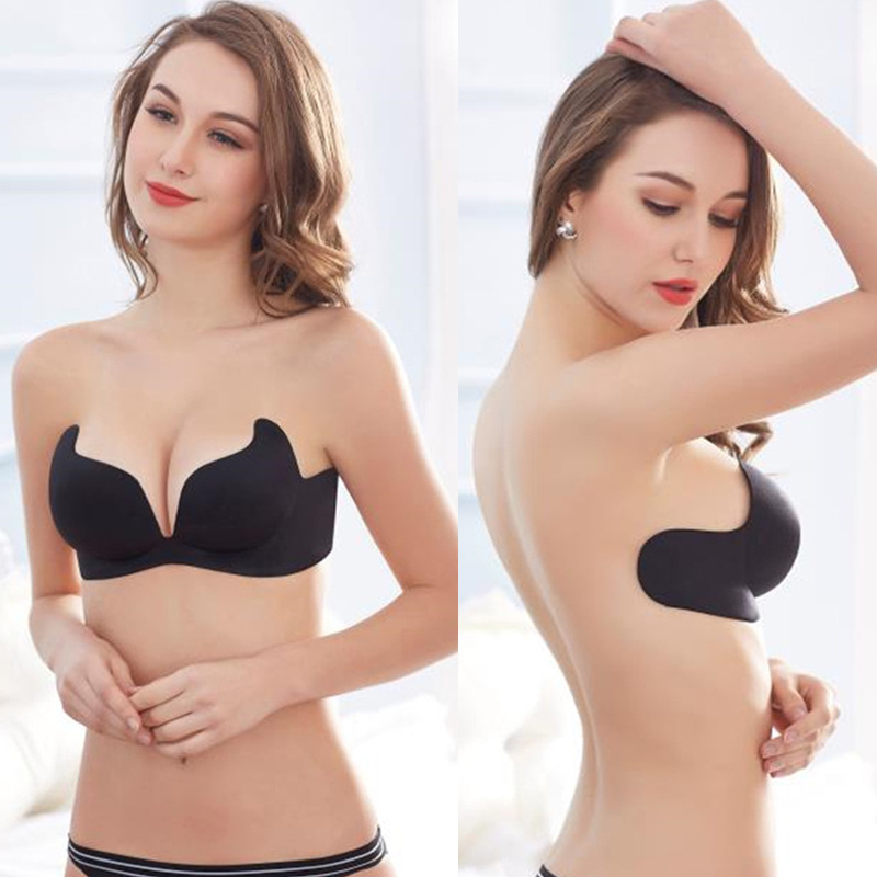 Sexy Gathering Plunge Invisible Bras Bralette Underwear Women Push Up Strapless Silicone Bra Fly Brassiere Plus Size invisible bra