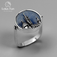 Lotus Fun Real 925 Sterling Silver Natural Aventurine Handmade Fine Jewelry Florence Cathedral Cincin Untuk Wanita