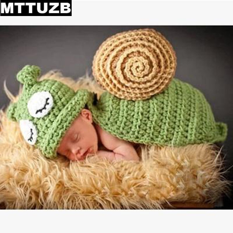 MTTUZB Infant lovely Green Snail  knitted Photography Props newborn Crochet Costume baby grils boys Photo Props newborn crochet baby fox orange costume photography props knitting baby hat bow infant baby photo props