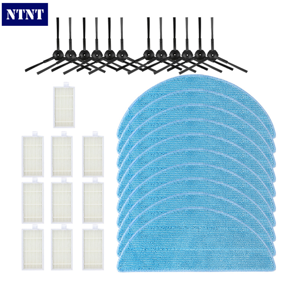 NTNT 10pcs HEPA Filter+6pairs Side Brush+10pcs Cleaning Mop Cloth Replacement Washable Home Clean for CR120 CR121 Vacuum Cleaner cheapest 1pcs cleaning mopping cloth 3 pair hepa filter 3 pair cleaner side brush for dt85 dt83 dm81 vacuum cleaner for house