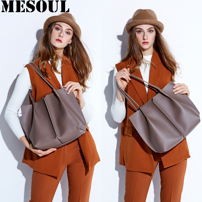 MESOUL Brand Women Handbags High Quality Combined Genuine Leather Big Tote Bag Female Fashion Dress Shoulder Bags Casual Handbag монитор aoc e2260swda black