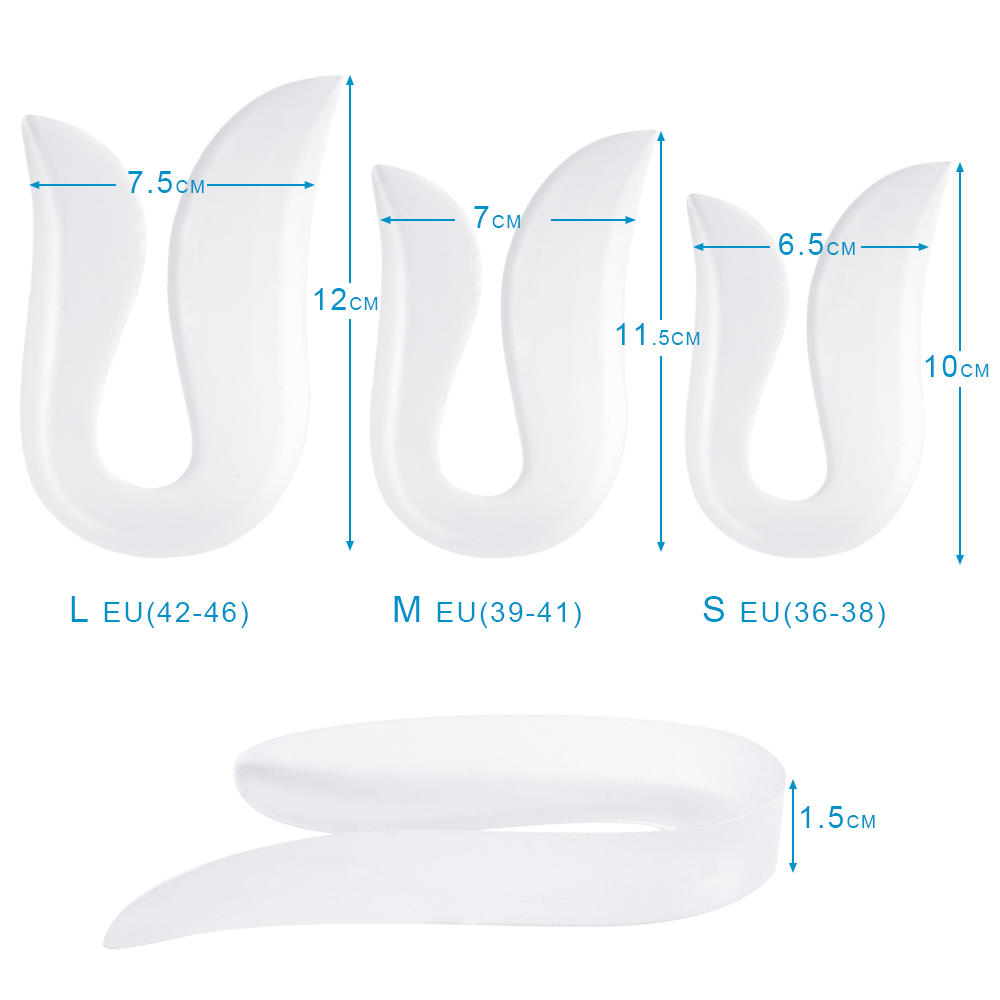 Silicone U-shaped Breathable Heel Pad Insoles Heel Spur Support Pads Relief Pain
