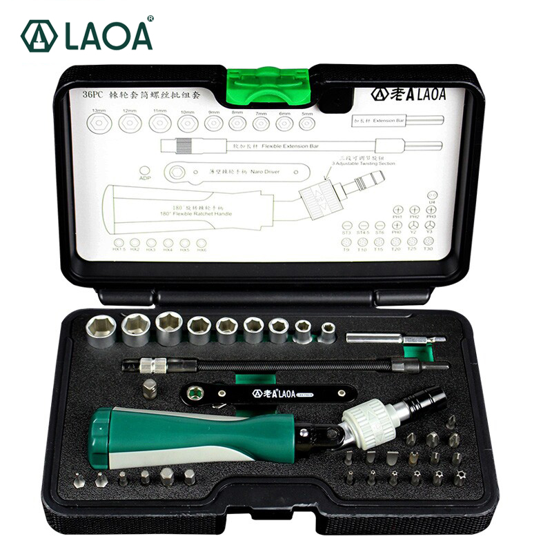 LAOA 36pcs Ratchet Screwdriver Sets With S2 Bit Hex Slotted Phillips Y-shaped Pentacle Torx Bits Hand Tools pdr Kit Outillage dv218 key shaped phillips screwdriver slotted screwdriver set silver 2pcs