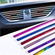 10PCS/Set Plating Air Outlet Trim Strip Interior Vent Grille Switch Auto Car Decoration Accessories