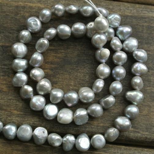 c80960f37f6f 6 ~ 7mm color plata Nugget forma perlas de agua dulce Cuentas 15.5   gris  Cuentas para la joyería Cuentas 5 FILAMENTOS