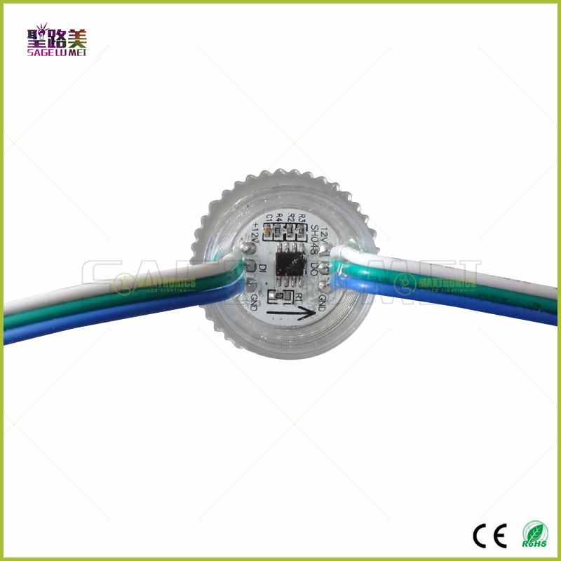 DC12V 26mm diameter transparent cover ws2811 LED Module Exposed Point Light 3 leds 5050 SMD RGB Chips led pixel waterproof IP68