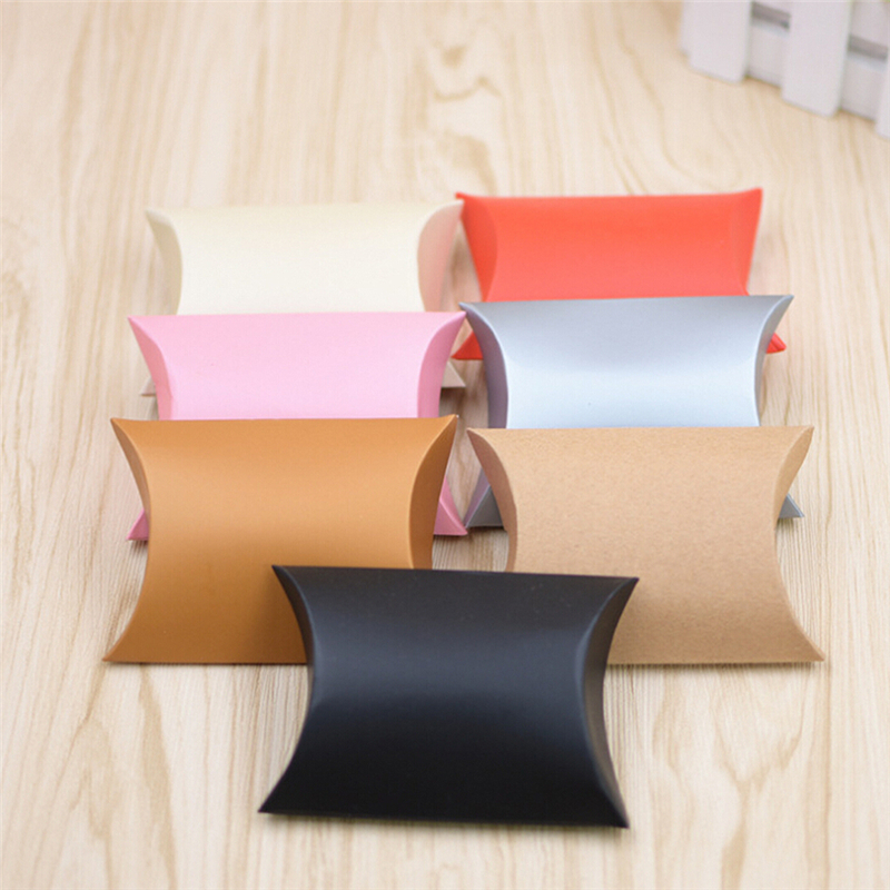 100pcs/set Colorful Paper Pillow Candy Box Present Pouch Kraft Wedding Favors Gift Candy Boxes Home Party Birthday Supply
