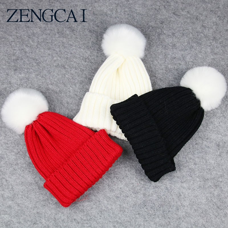 ZENGCAI New Child Hat Winter Knitted Cap Warmmer Girls Boys Beanies Candy Color Thick Wool Hats Solid Cute Ball Baby Kids Bonnet the new children s cubs hat qiu dong with cartoon animals knitting wool cap and pile