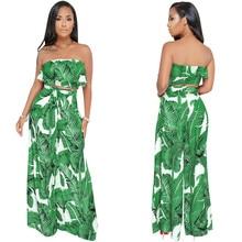 купить Women Summer Boho Two Piece Sets Sexy Leaf Print Strapless Ruffles Crop Top + Wide Leg Pants Loose Casual Beach Matching Outfits дешево