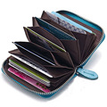 Hot Selling Small Men & Women's 100% Genuine Leather Zipper Wallet Expandable Credit Card Holder Coin Bag, 5 colors, ANS-CL-2149