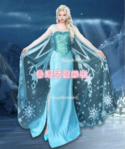 Frozen Queen Elsa Cosplay Dress Sparkling Cosplay Costume Adult Girls Size S-XL