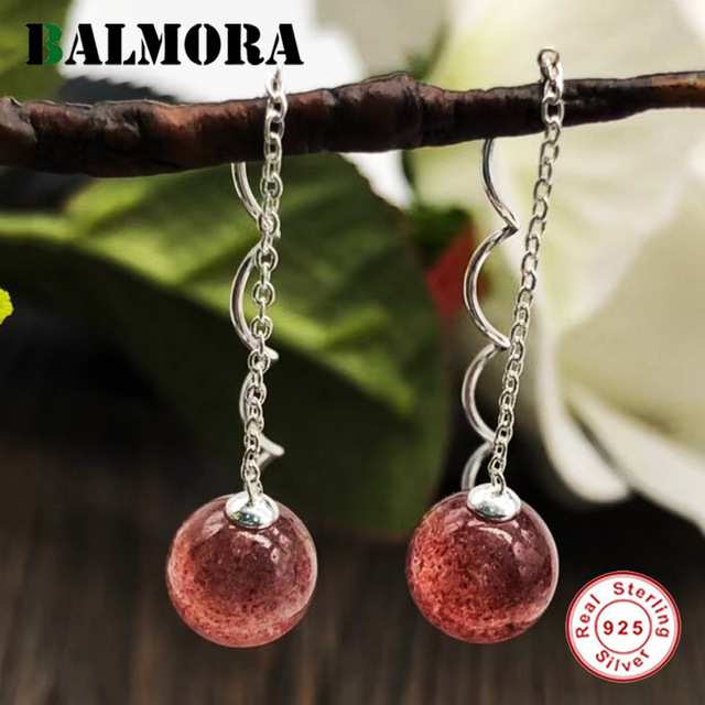 BALMORA 925 Sterling Silver Red Stone Dangle Earrings for Women Lady Party Gift Ear Line Bijoux Fashion Jewelry Brincos TRS31144