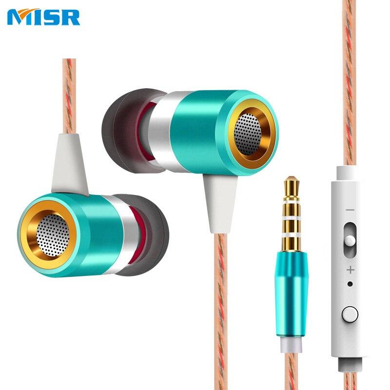 MISR A8 Kopfhörer Für Telefon Wired In-Ear Headset mit Mic Mikrofon Volume Control Stereo Bass Metall Kunststoff Ohrhörer 3,5mm jack