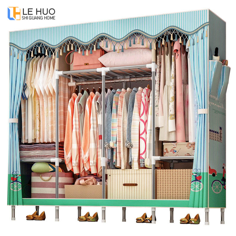 19mm en acier tuyau famille armoire renfort debout organisateur stockage détachable vêtements cintre rack chambre meubles