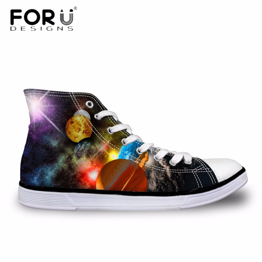 FORUDESIGNS Galaxy Pattern Men Casual Vulcanized Shoes Vintage 3D Space Star High Top Canvas Shoes for Men Flats Man Zapatos