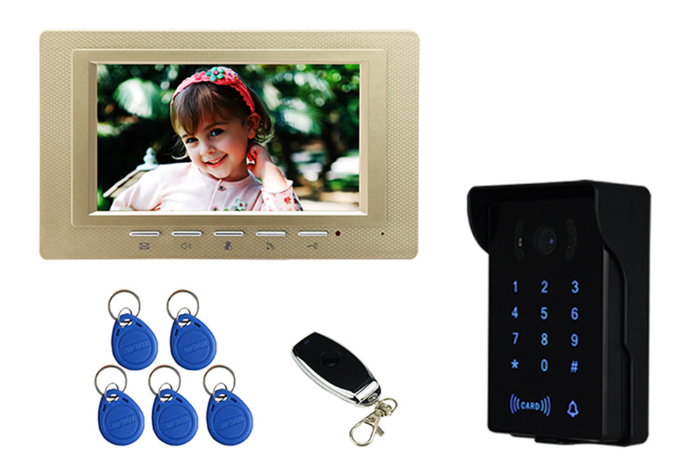 7 Inch LCD Display Password/ ID Card/Wireless Remote Control  Video Door Phone