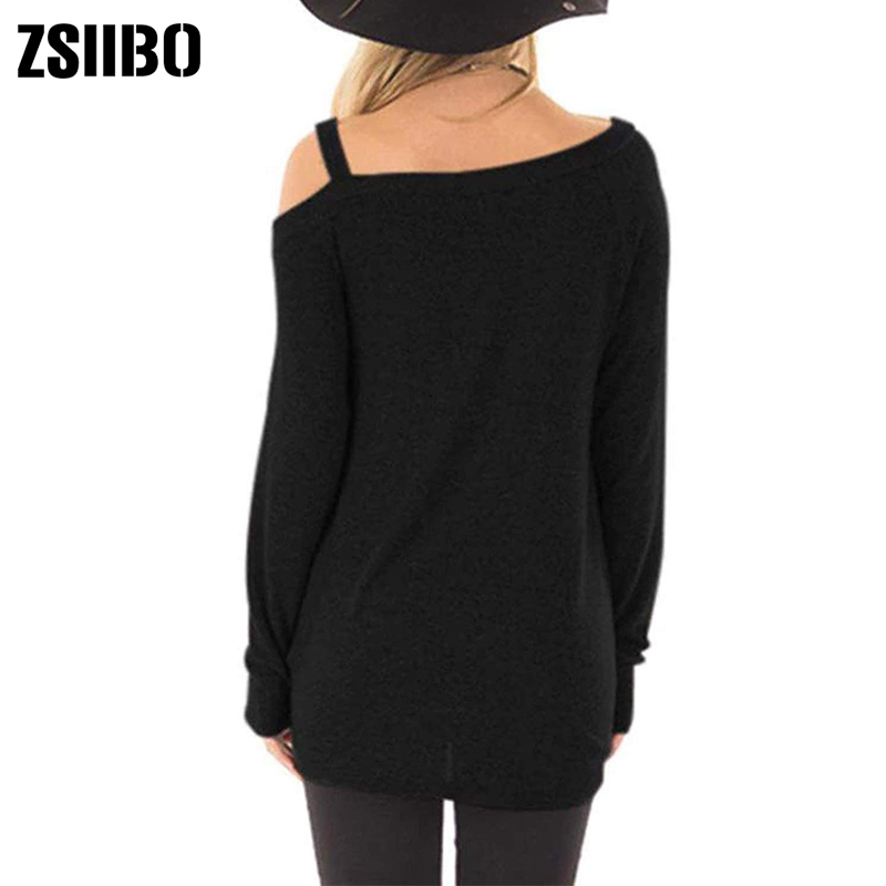 HTB1imlZXNv1gK0jSZFFq6z0sXXal - New autumn winter t shirt Women's Cold Shoulder T-Shirt Long Sleeve Knot Twist Front Tunic Tops drop shipping NVTX173