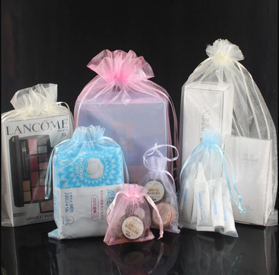Jewelry-Packaging Bags Pouches Organza-Bag Drawable Christmas-Gift 10x15 Wedding 15x20cm