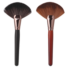 Top-sale Pro Makeup Blush Brush Large Fan Goat Hair Face Powder Foundation Cosmetic Tool 7LFZ