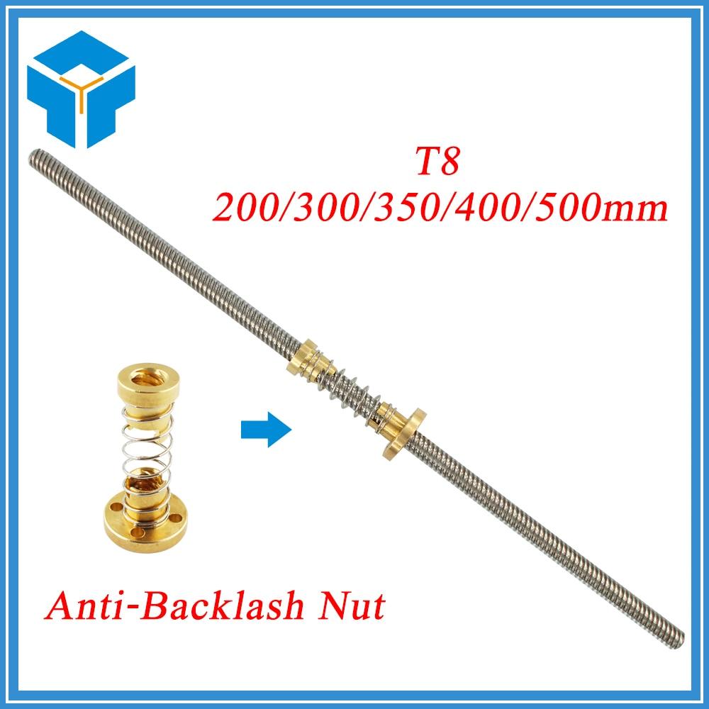 Anti-Backlash Nut + 200mm 300mm 350 400mm 500mm T-type Stepper Motor Trapezoidal Lead Screw 8MM Thread 8mm T8 For 3D Printer CNC