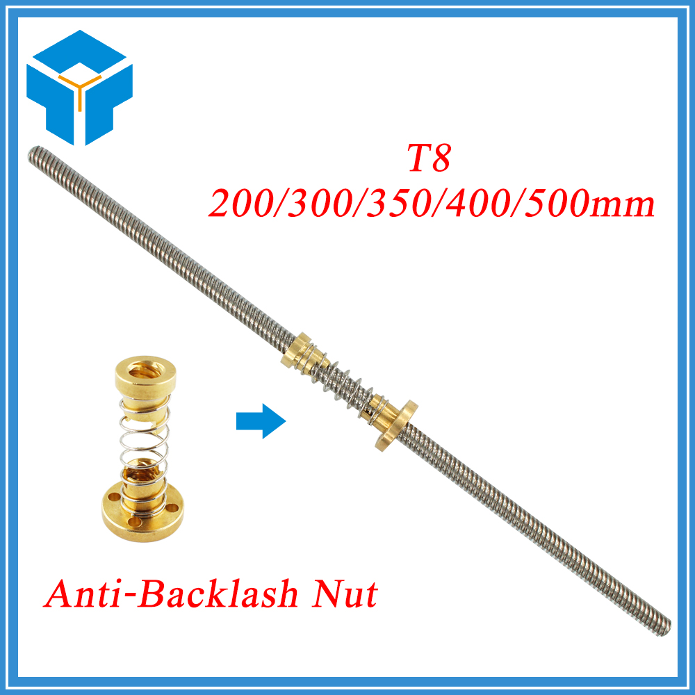 Anti-Backlash Nut + 200mm 300mm 350 400mm 500mm T-type Stepper Motor Trapezoidal Lead Screw 8MM Thread 8mm T8 For 3D Printer CNC