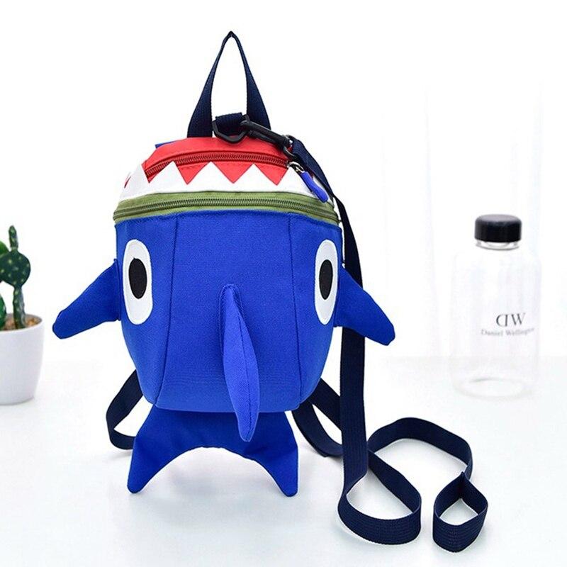 New 3D Cartoon Shark Baby Toddler Anti Lost Leash Harness Strap Walker Kids Lunch Box Kindergarten Schoolbag Backpack