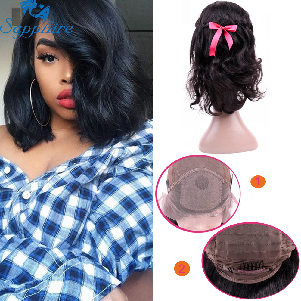 Sapphire Natural Color Brazilian Body Wave Human Hair Bob Wigs 100% Human Hair Lace Frontal Wigs With Baby Hair 10-20 Wig