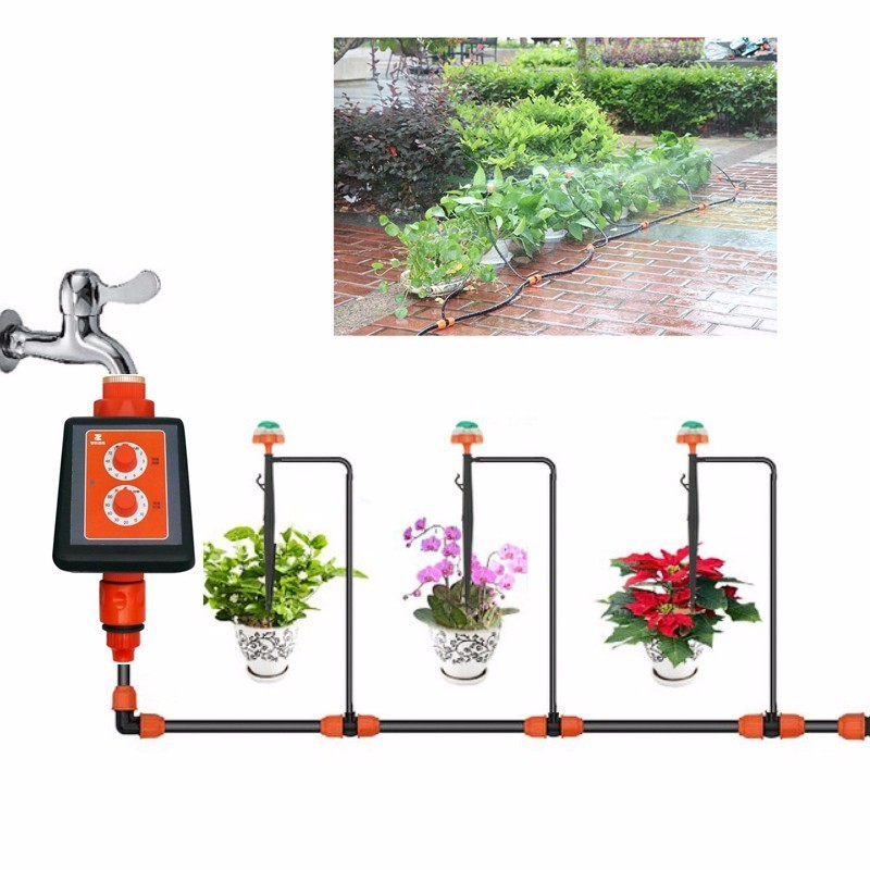 New Led Double Knob Intelligent Timer Drip Irrigation System Set Micro Spray Watering Controller Home Garden Watering Device