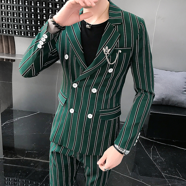Men's Suit Two-piece Spring and Summer Hot Fashion Trend Casual Self-cultivation Business Men's Banquet Party Wedding Strip Suit