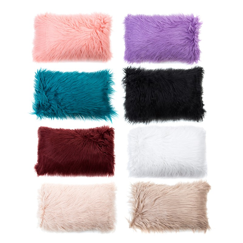 1 Pcs Solid Pluche Kussensloop Casual Faux Fur Sierkussen Cases Home Seat Taille Kussen Cover Case Decoratieve Kussensloop