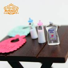 1:12 Dollhouse Miniature Baby Bottles Bib Body Wash Accessories for Baby Furniture Bedroom Decoration Sets Free Shipping(China)