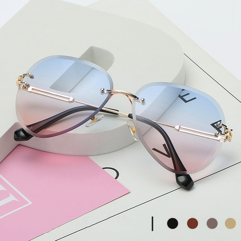 Rimless Sunglasses Women Brand Designer Sun Glasses Gradient Shades Cutting Lens Ladies Frameless Metal Eyeglasses UV400