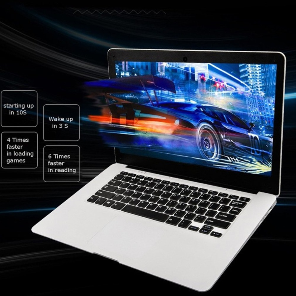 Ultra thin Laptop PC 14.1 inch Netbook 1366*768P Display pixel 4GB+64GB for Windows10