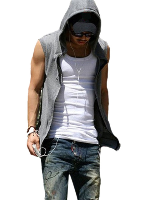 Promotion 1pc Summer 2017 New Men Male Casual Slim Fit Hooded Jacket Vest Outwear Sleeveless Beach Wear 4 Sizes Black/Gray