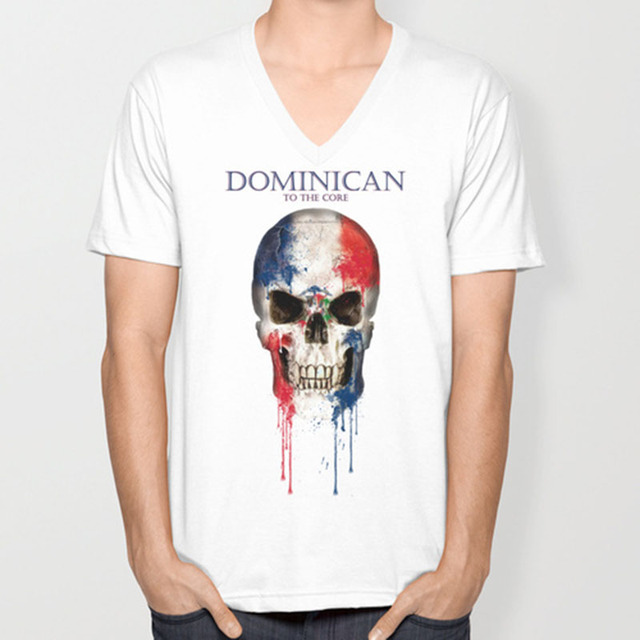 a292353d Dominican Republic skull flag New Fashion Men's V-neck T-shirts Short  Sleeve summer Mens tshirt Male Tops Tees Wholesale