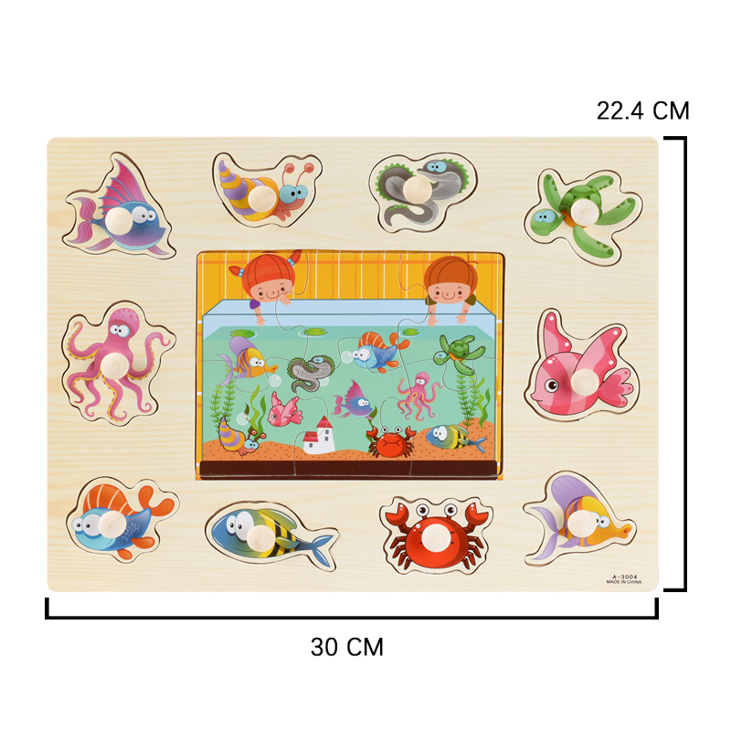 Image 5 - Montessori Wooden Puzzles Hand Grab Boards Toys Tangram Jigsaw Baby Educational Toys Cartoon Vehicle Animals Fruits 3D Puzzles-in Puzzles from Toys & Hobbies