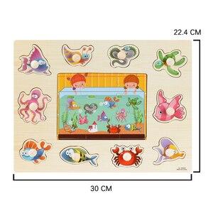 Image 5 - Rompecabezas de madera Montessori para bebé, tablas de agarre manual, Tangram de juguete, rompecabezas para bebé, juguetes educativos dibujo animado, vehículo, animales, frutas, 3D