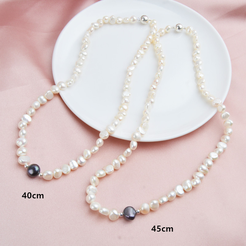 ASHIQI Real Freshwater Pearl Jewelry set for Women with Pure 925 Sterling Silver Beads Handmade Necklace ASHIQI Real Freshwater Pearl Jewelry set for Women with Pure 925 Sterling Silver Beads Handmade Necklace Bracelet Bridal Gift