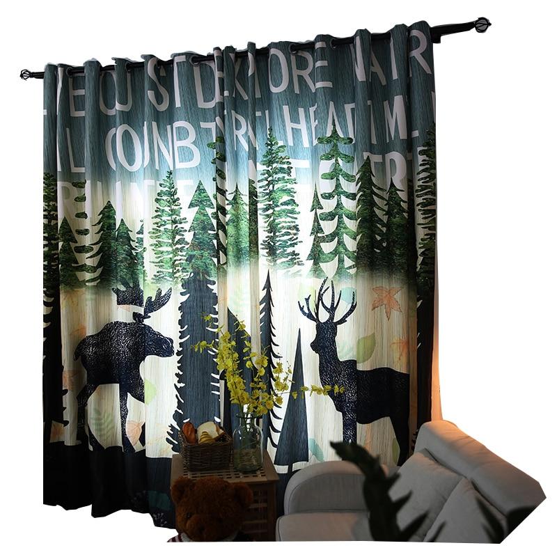 Lesní Deer dětské záclony Okno Poloténování Polyester - Bytový textil