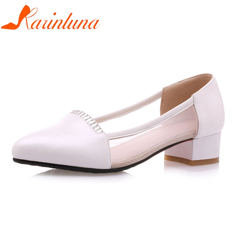 KARINLUNA 2018 Summer Sweet Big Size 33-42 Women Low Heels Pumps Breathable Mesh Shoes Woman Shallow Women Causal Shoes