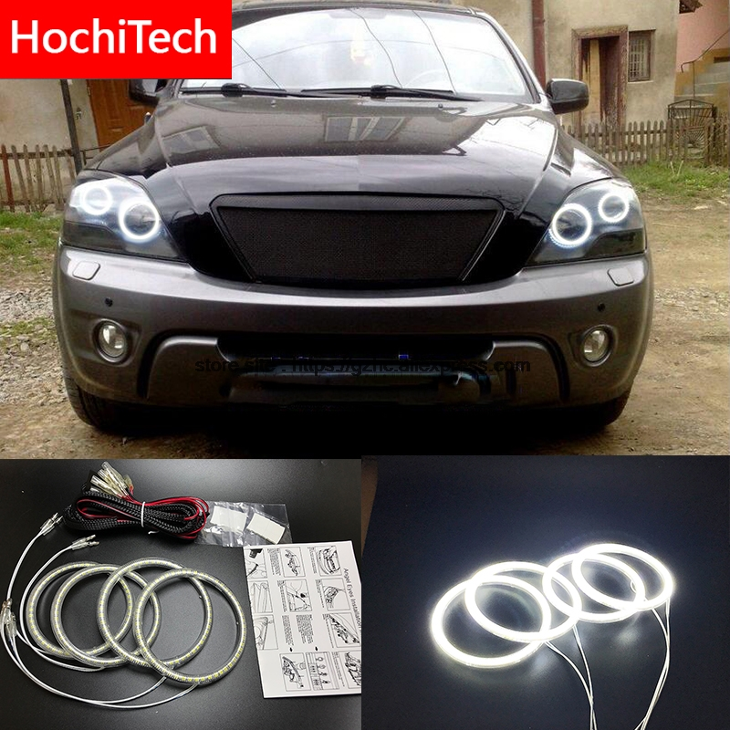HochiTech Ultra bright SMD white LED angel eyes 2500LM 12V halo ring kit daytime running light DRL for Kia Sorento 2006-2009 цена