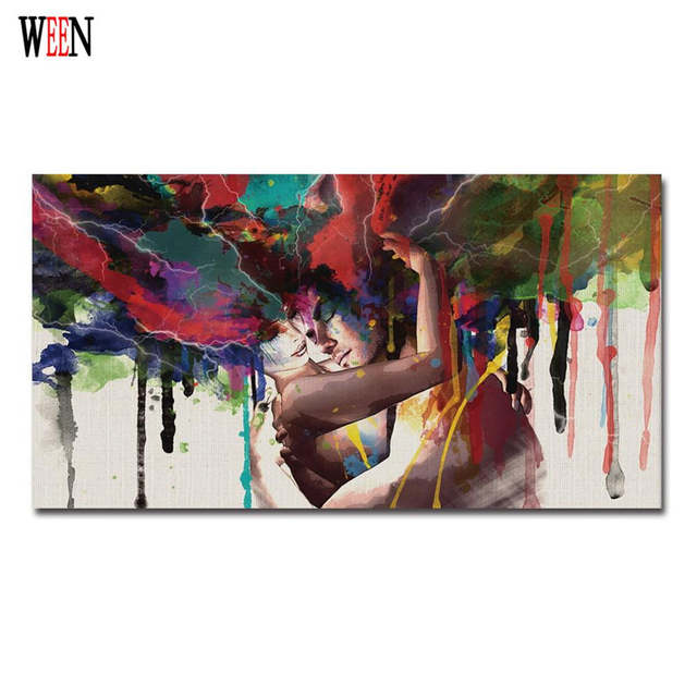 Us 3 75 16 Off Hugging Couples Canvas Art Love Pictures Of Abstract Paintings Cuadros Decoracion Decorative Pictures Poster Retro Christmas In