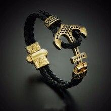 Atolyestone Emperor Bead Bracelet Gold Bracelets Anchor Leather Cuff Bracelets & Bangles Men Women Mujer Pulseras SW-0045