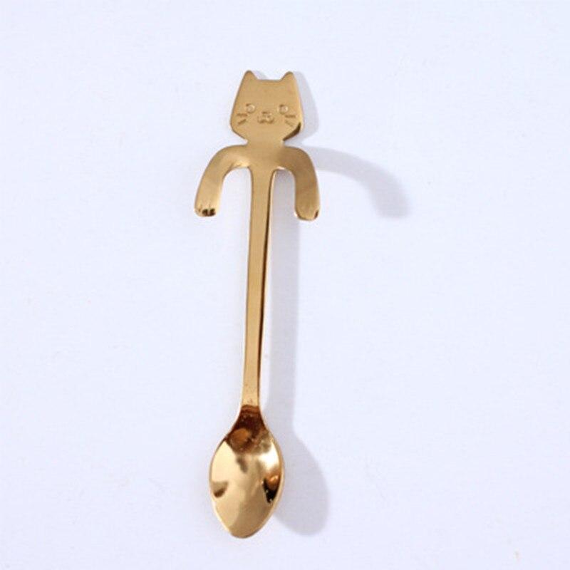 Кофейная и чайная ложка мини-кошка с длинной ручкой креативная ложка для питья пищевая кухонная посуда из нержавеющей стали - Цвет: Gold